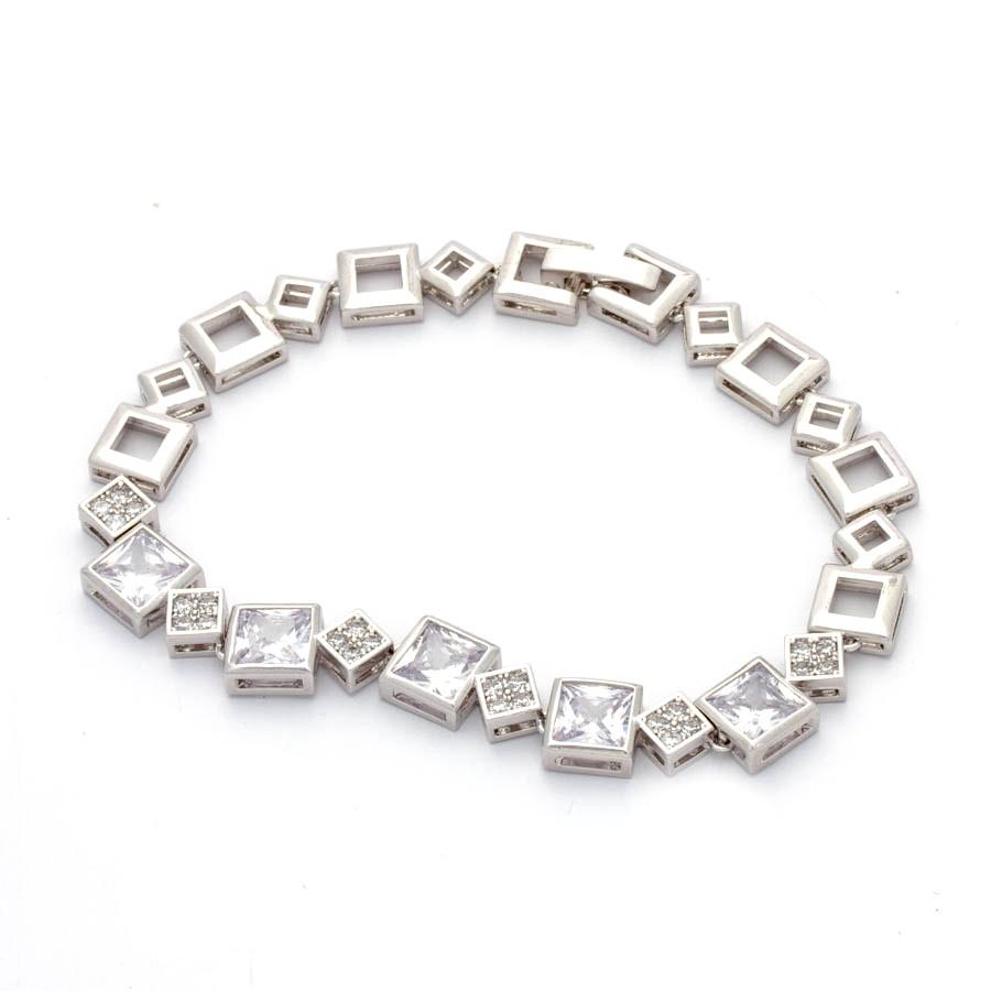 Pulseira Quadradinho cristais e cravejados banhado em ródio branco