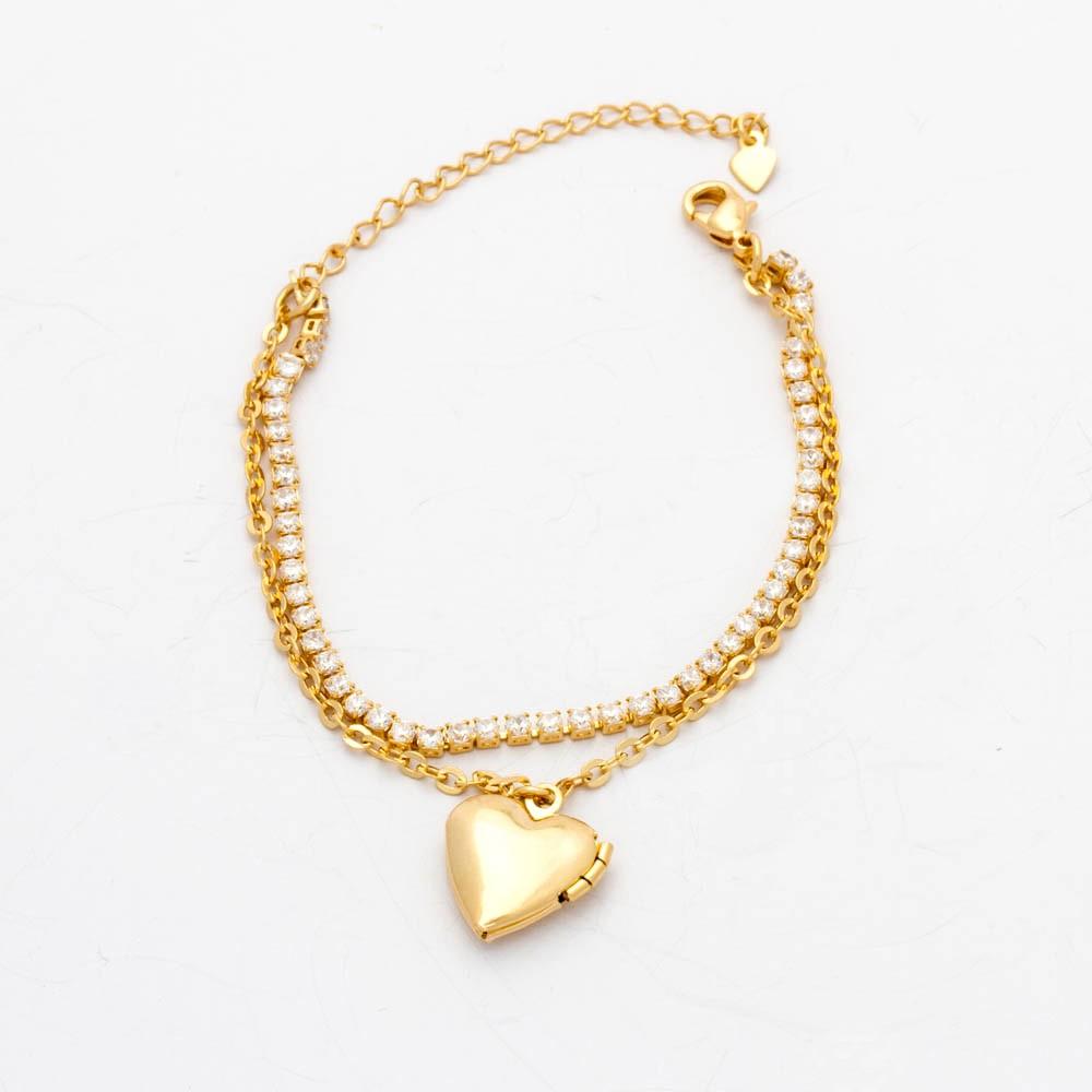 Pulseira Riviera Zirconia Coração banhado ouro 18k