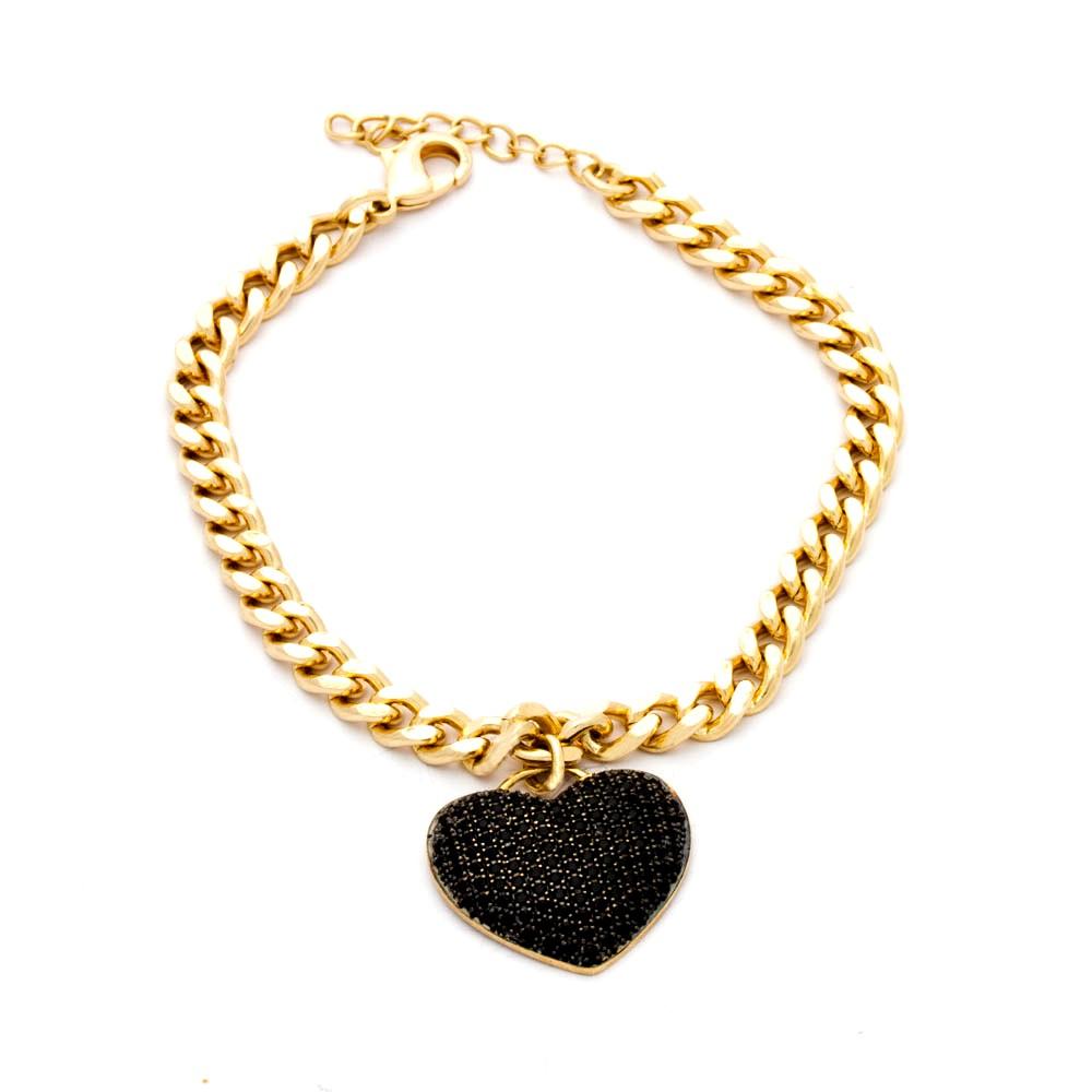 Pulseira zircônia negras elos grumet coração cravejado banhada ouro 18k