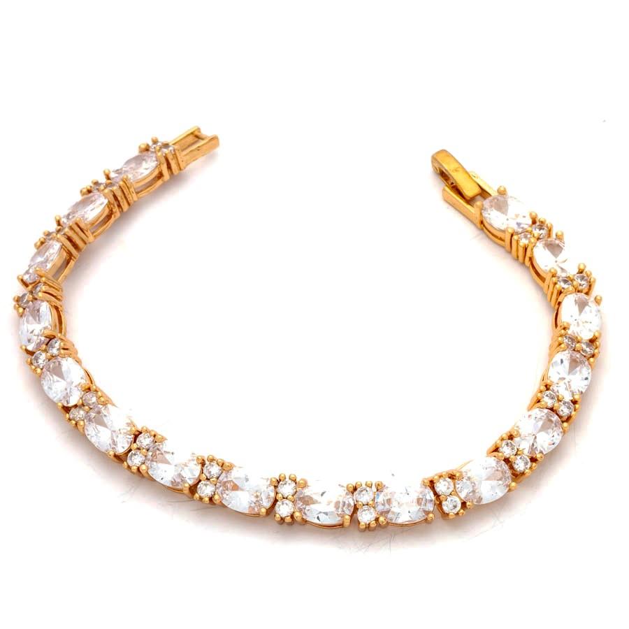 Pulseira cristais ovais festa banhado em ouro 18k