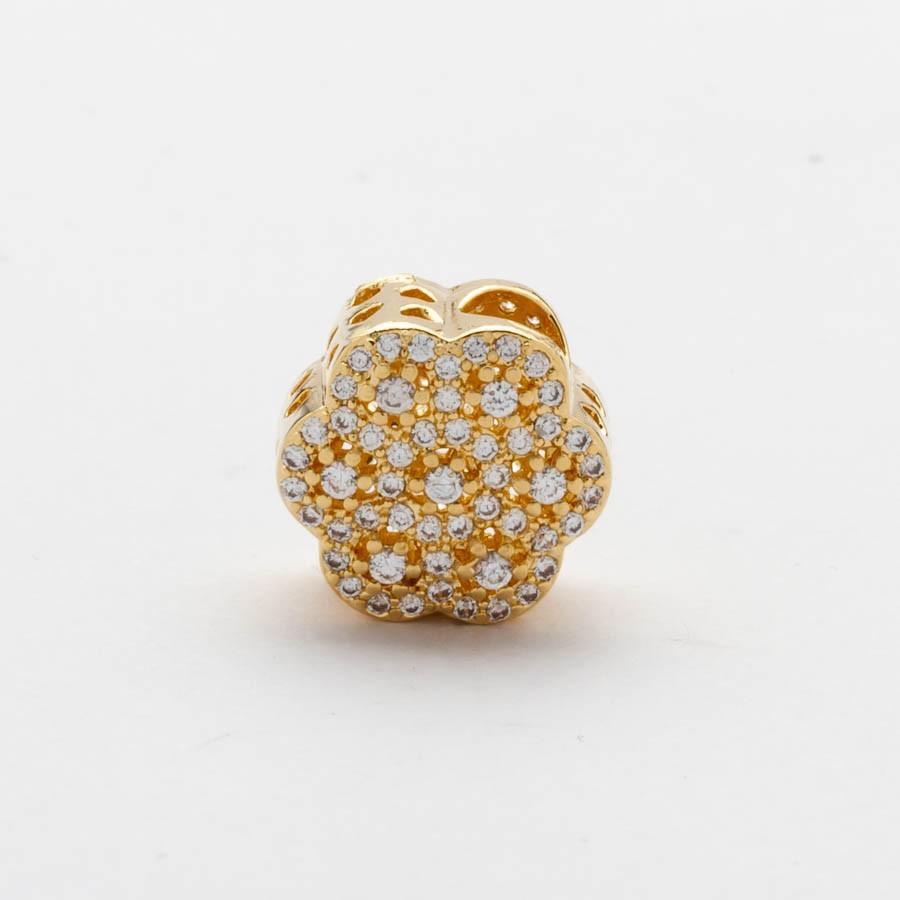 Separador Flor Cravejado Banhado Ouro 18k