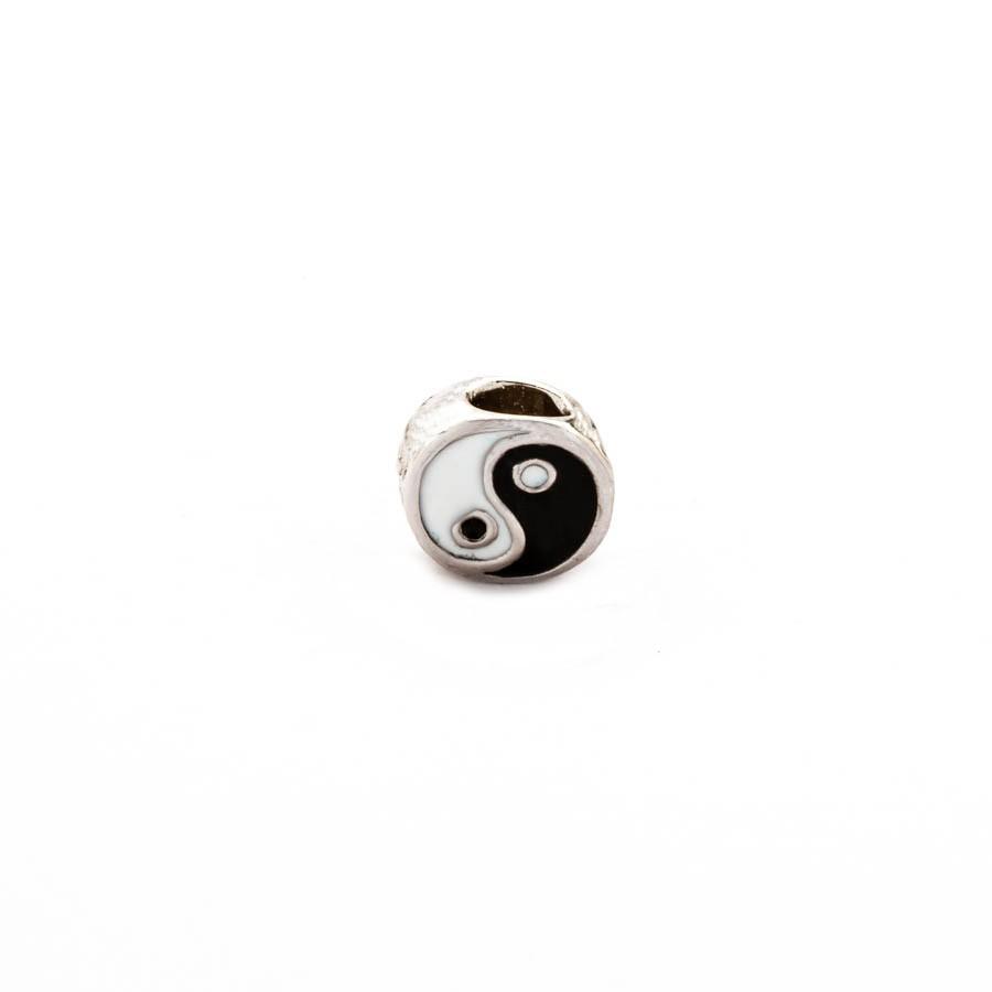 Separador Yin Yang Banhado Ródio Branco