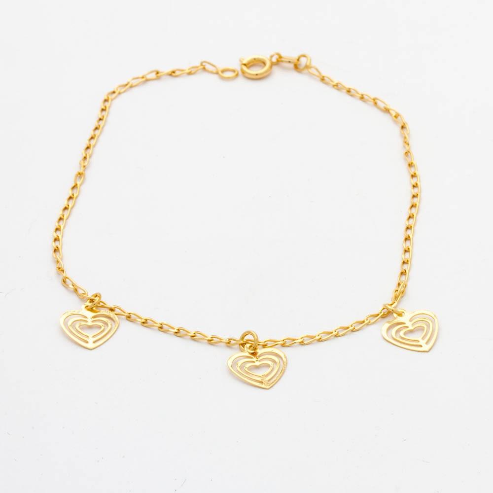 Tornozeleira 3 coração banhado ouro 18k