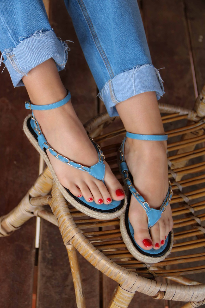 Sandália Rasteira Azul Vr 25.01