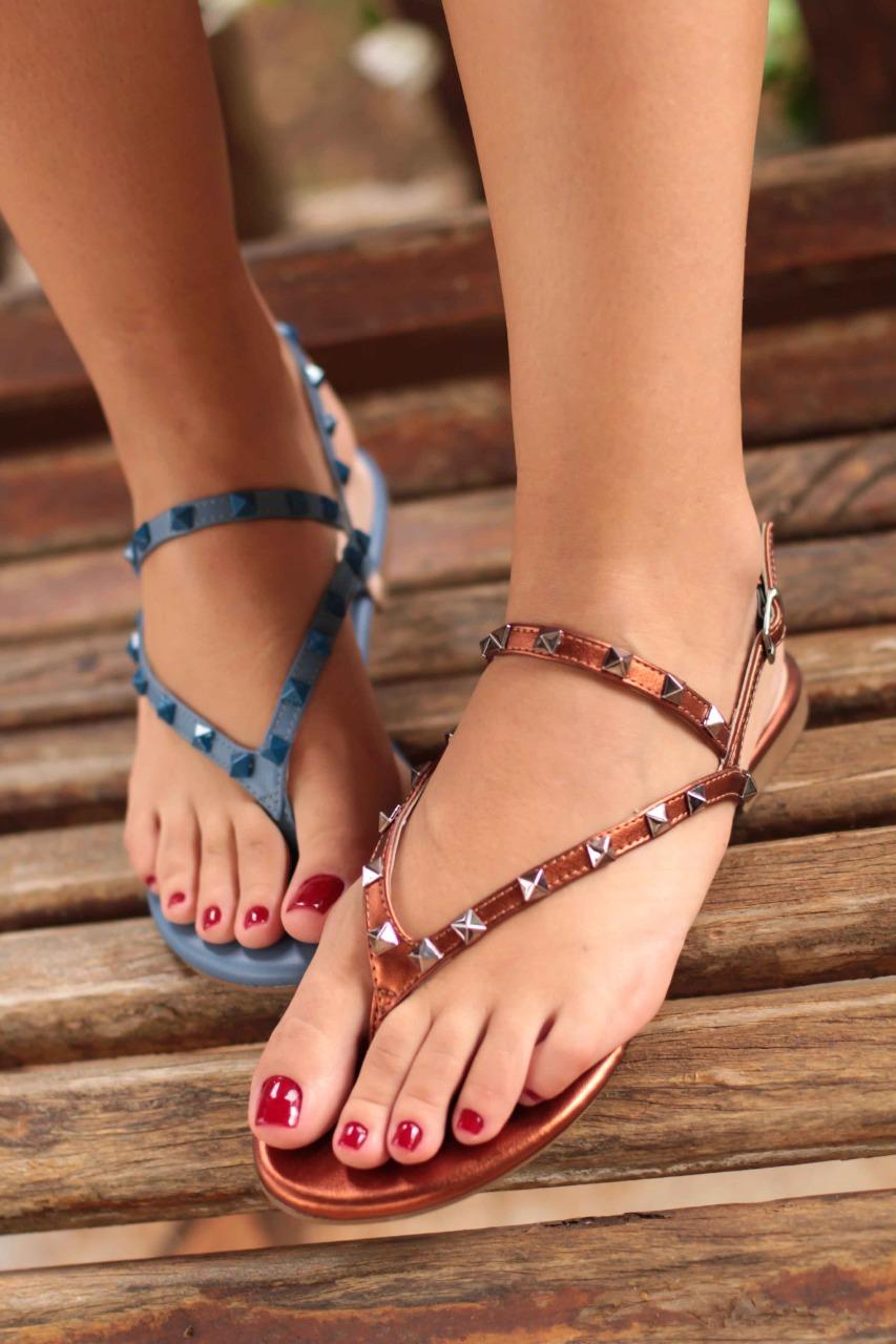 Sandália Rasteira Salthz Azul Vr 8054 1532