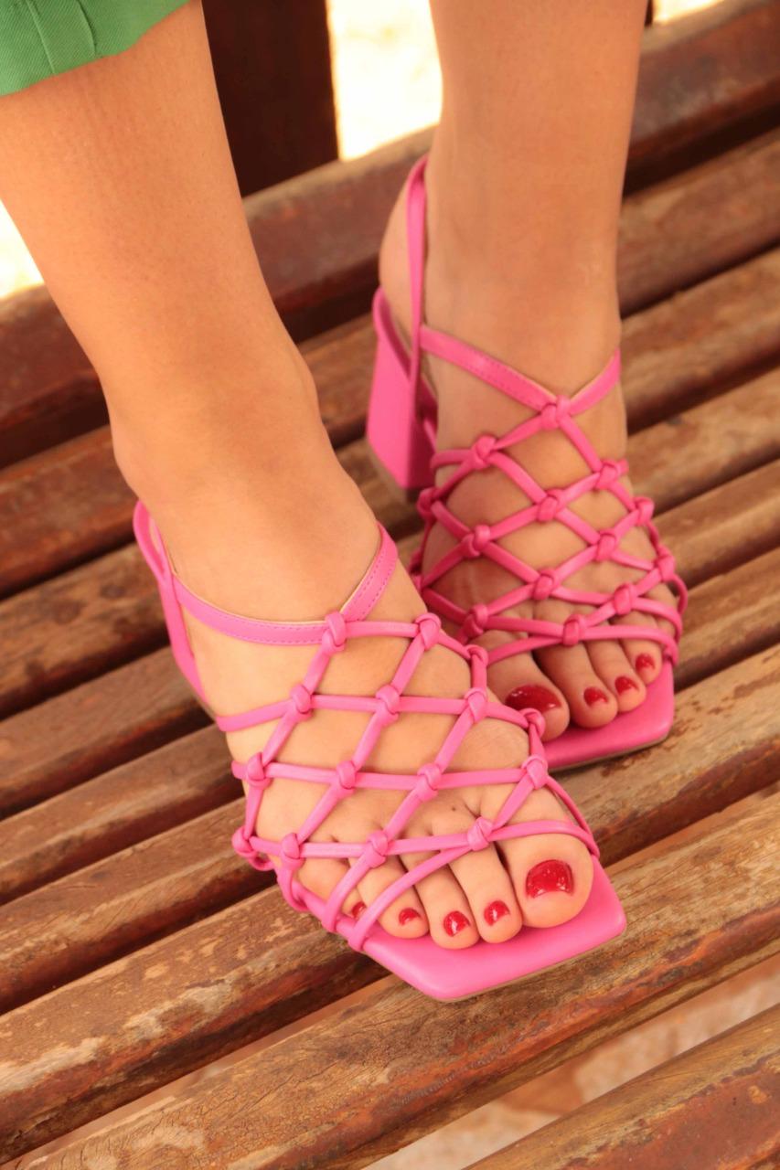 Sandália Salto Médio Quadrado Salthz Pink Vr 1125280
