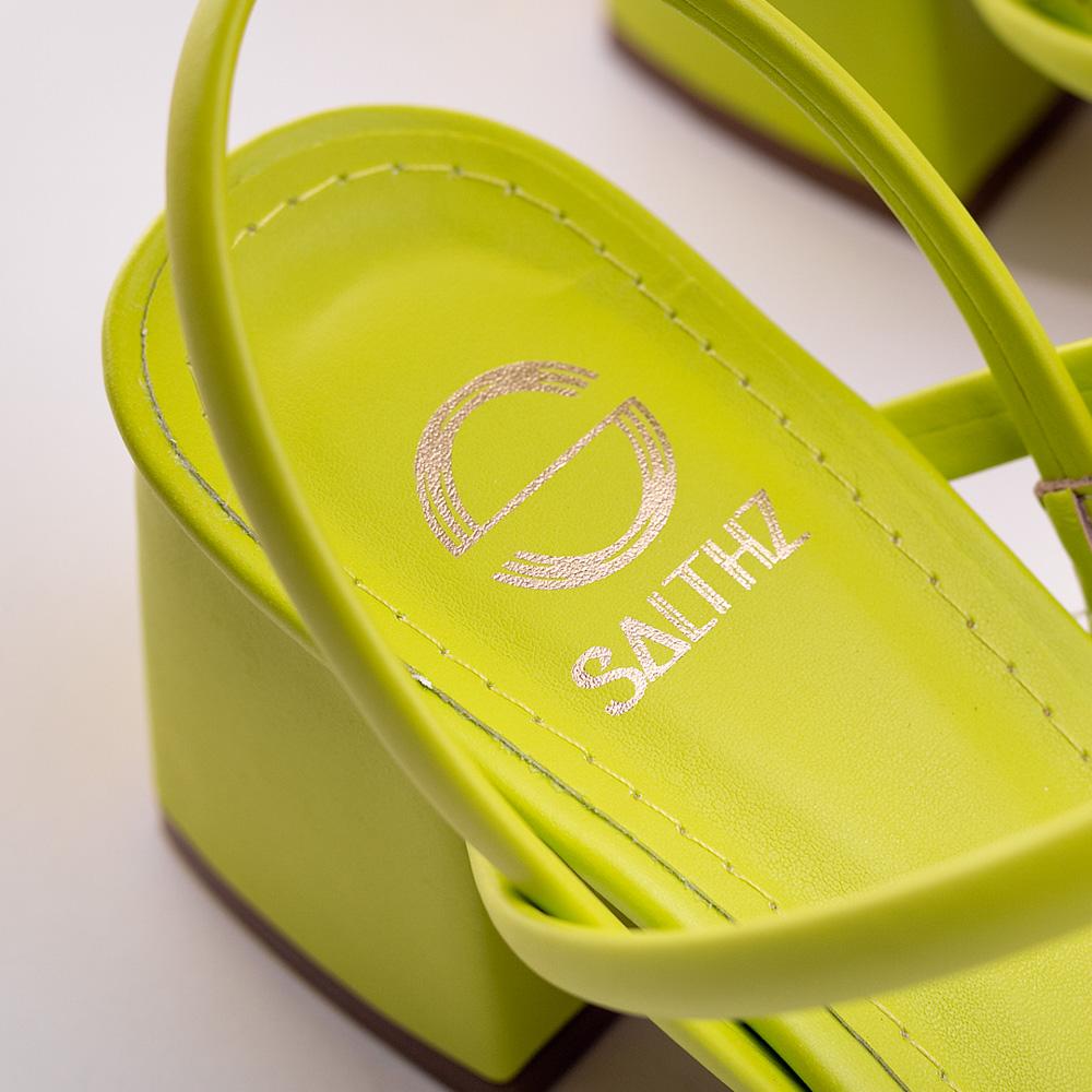 Sandália Salto Médio Quadrado Salthz Verde Vr 760.6012