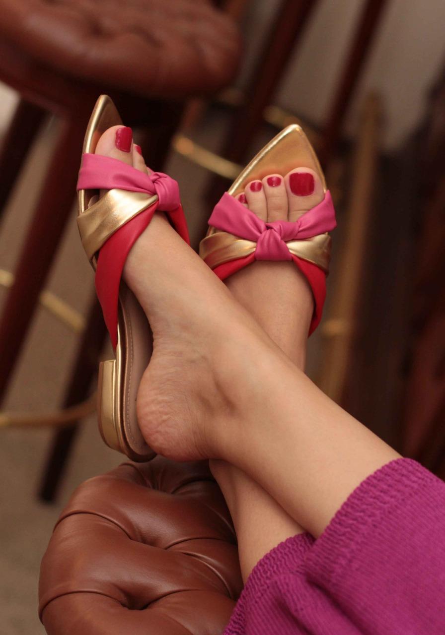 Tamanco Rasteiro Salthz Dourado/Pink Vr 1300.23
