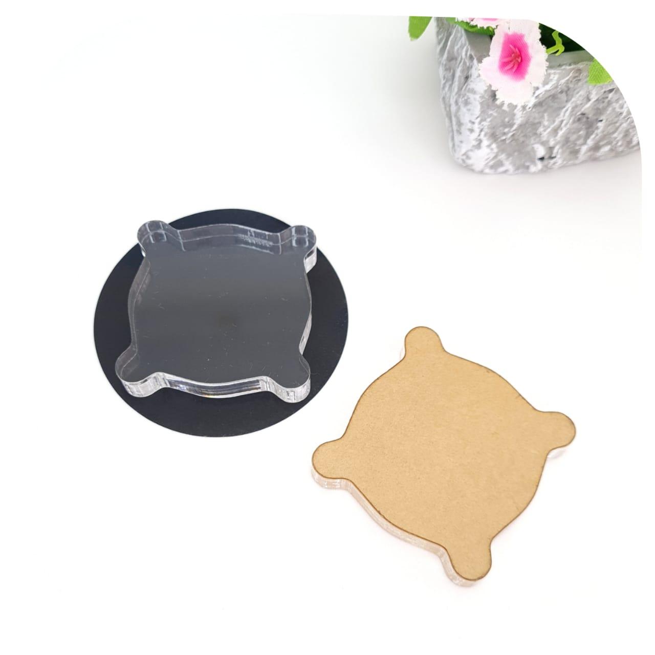 Base pequena -acrílico transparente - para carimbos de silicone