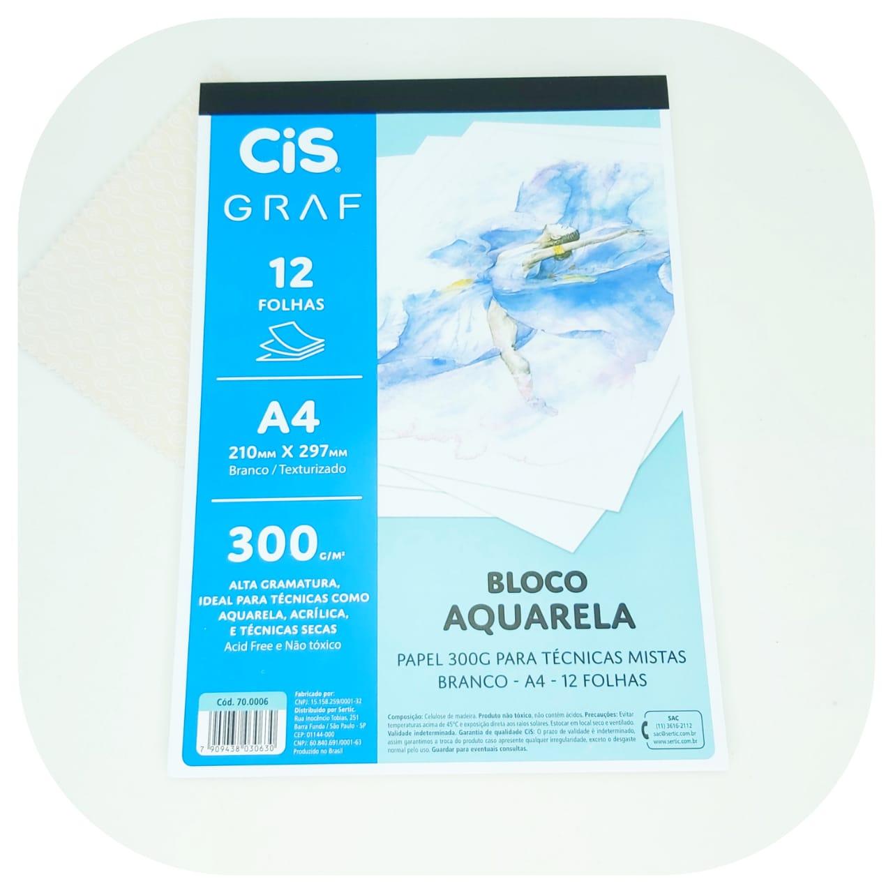 Bloco Aquarela c/12 folhas - 300g - Cis