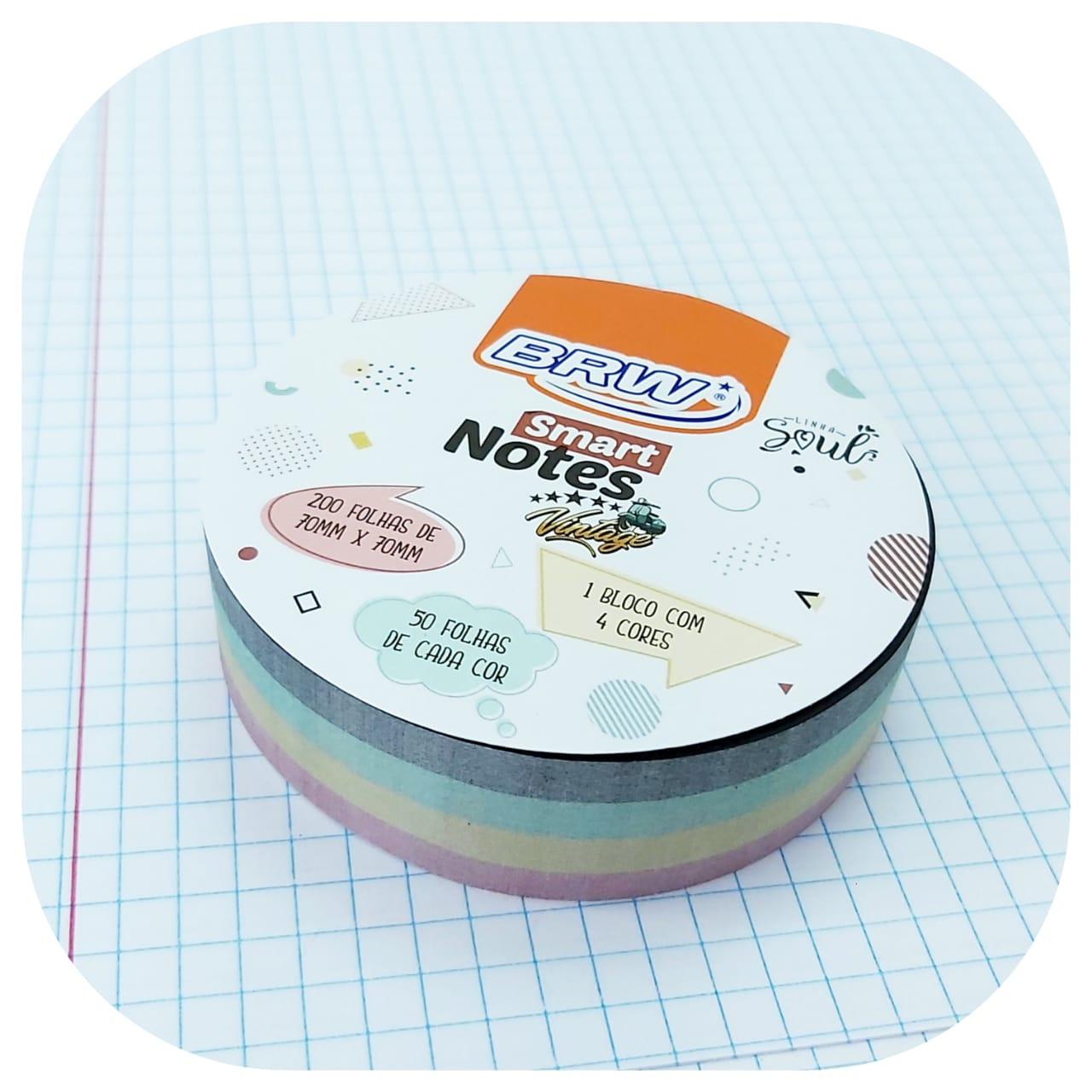 Bloco Smart Notes Vintage - Redondo - 70x70mm - 200 folhas -BRW