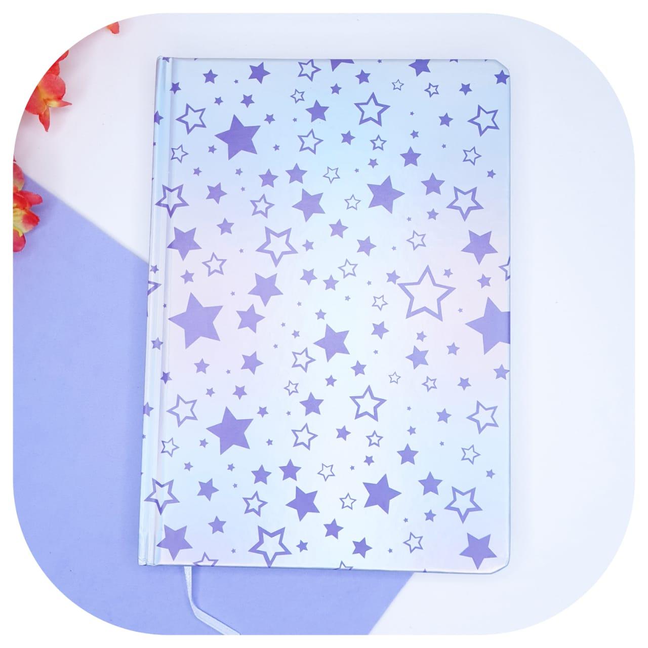 Caderno holográfico estrelas com capa dura