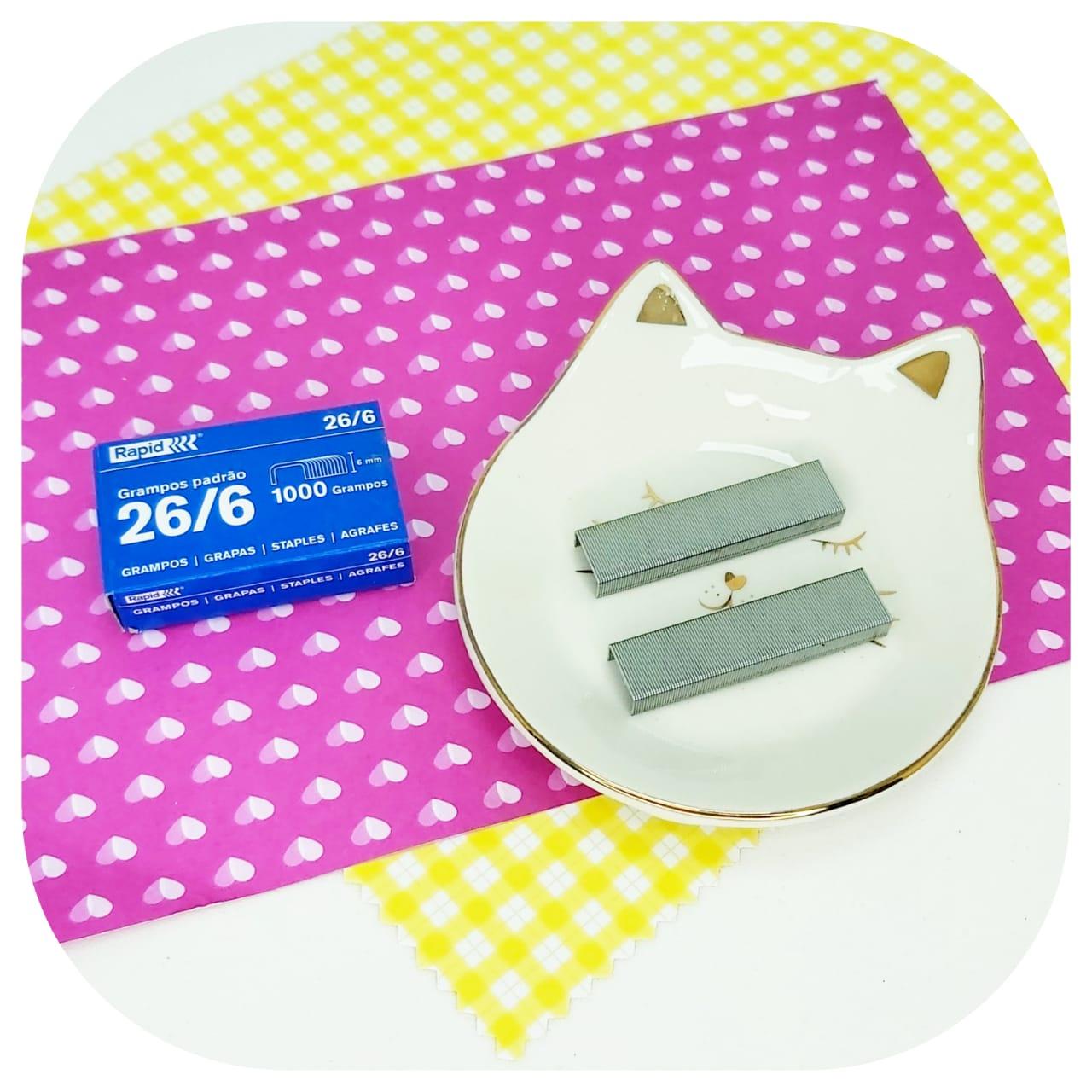 Caixa de grampos para Grampeador - 1000 grampos - padrão 26/6
