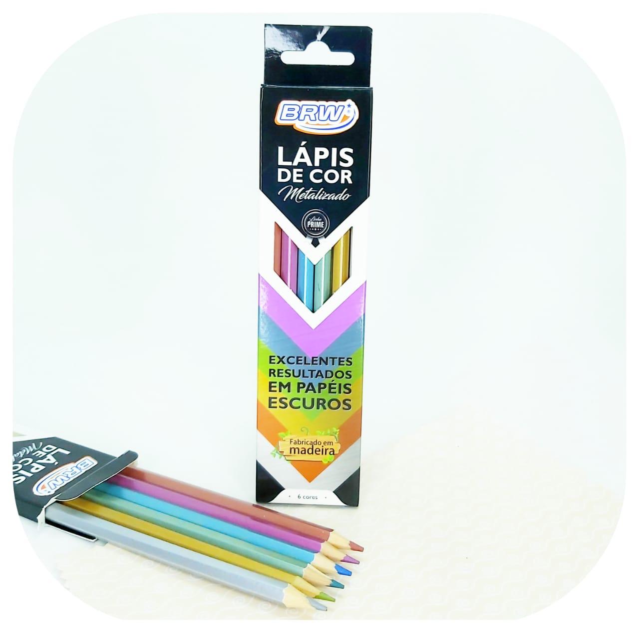 Caixa de Lápis de cor Metálicos - Sextavado - 6 cores - BRW