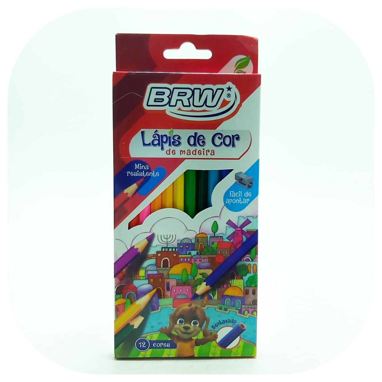 Caixa de Lápis de cor - Sextavado - 12 cores - BRW