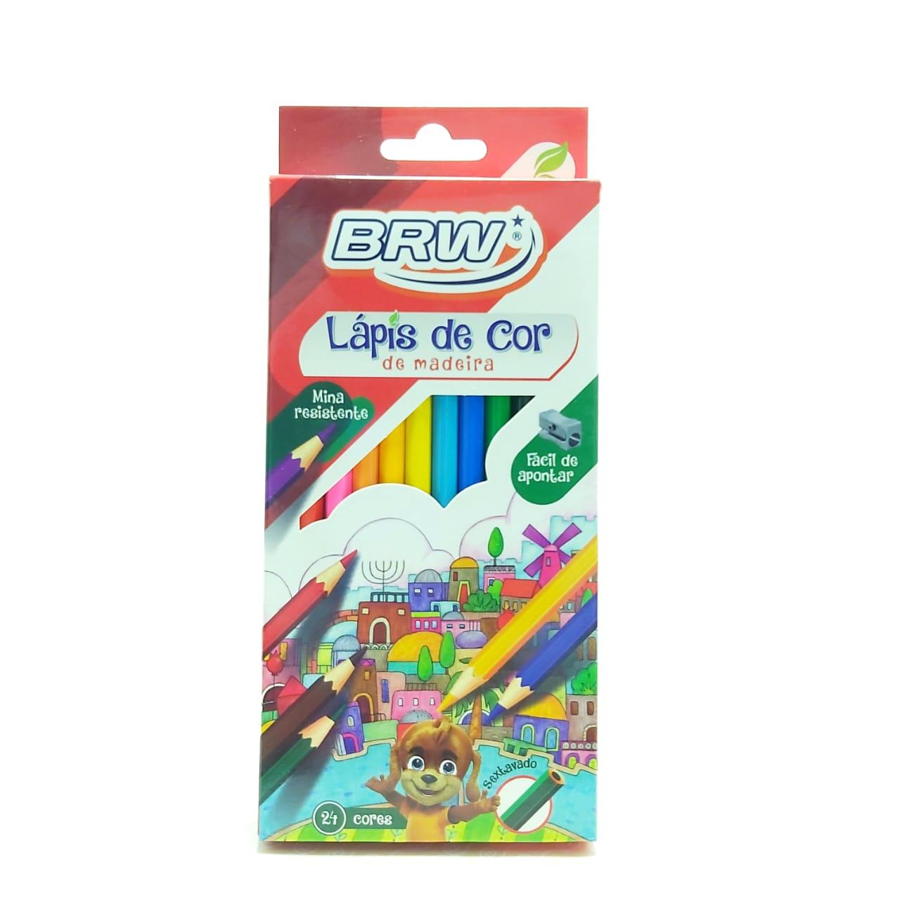 Caixa de Lápis de cor - Sextavado - 24 cores - BRW