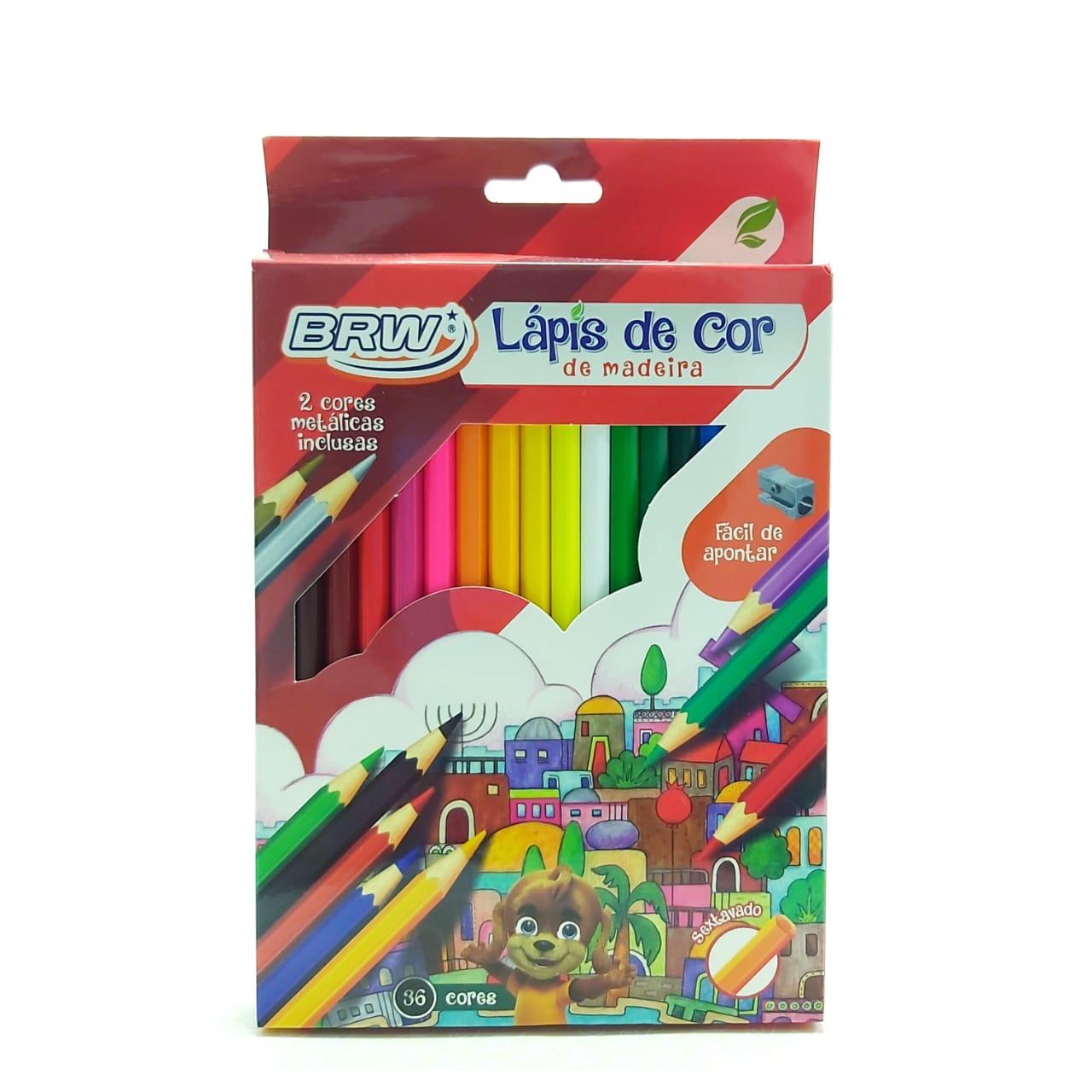 Caixa de Lápis de cor - Sextavado - 36 cores - BRW