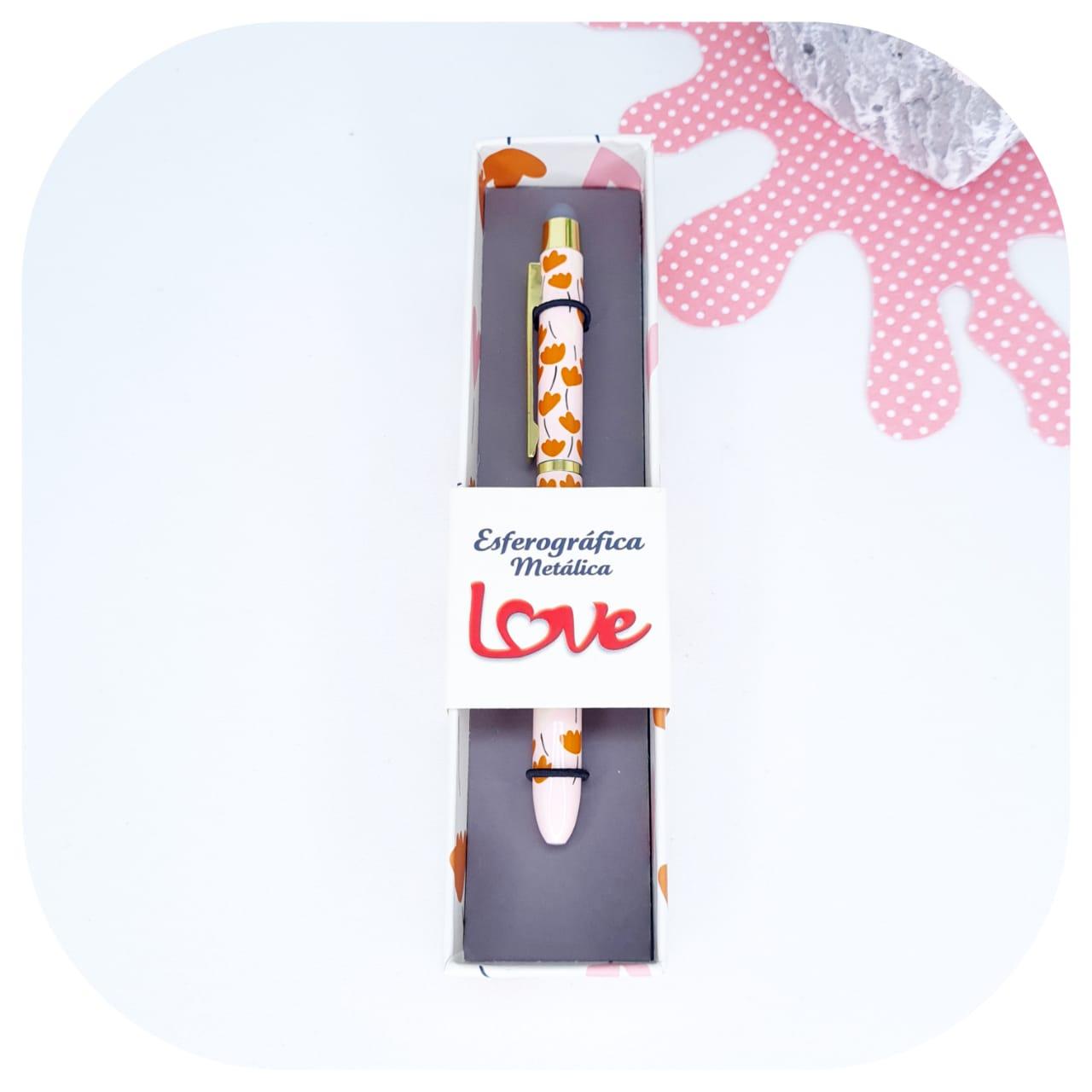 Caneta Esferográfica Metálica com Touch Love - Molin