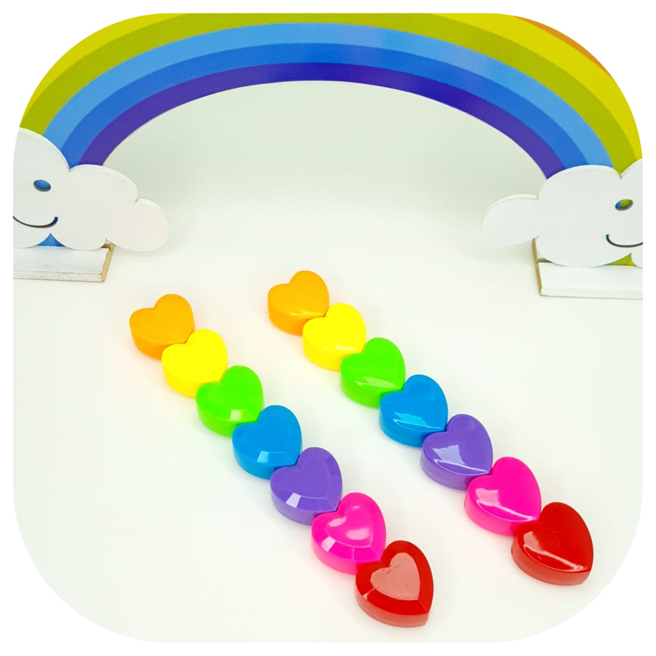 Kit de Mini Marca texto Coração -  06 cores