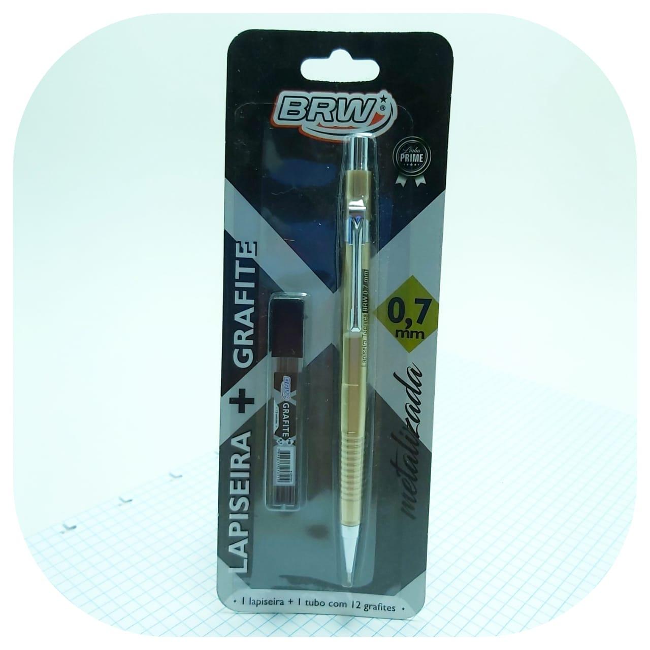 Kit Lapiseira Técnica  0.7mm - Metalizada + Grafite - BRW
