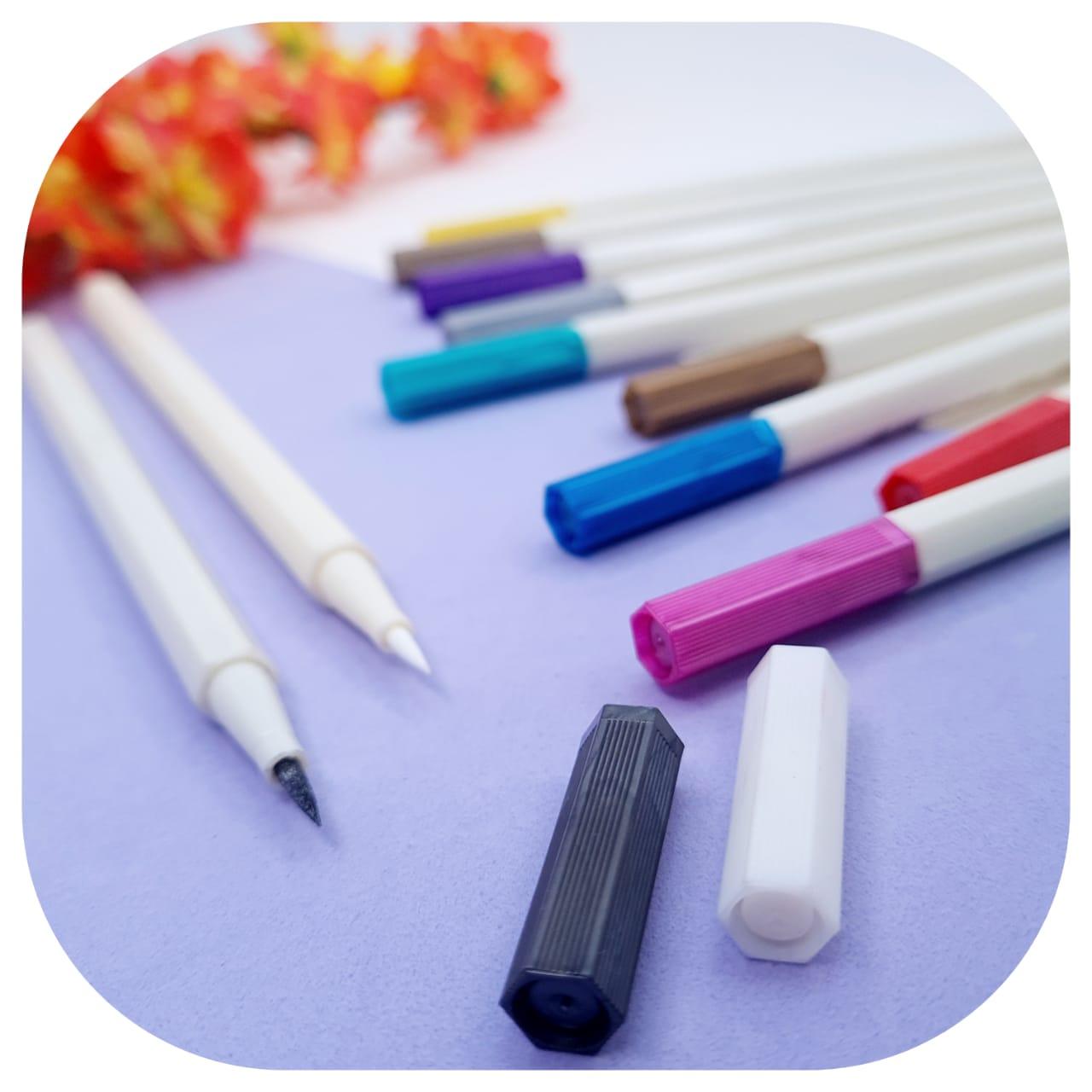 Kit Pen Brush - Metallic - 12 CORES