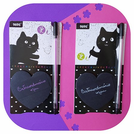 Kit Post-it - Cat + Caneta Neon