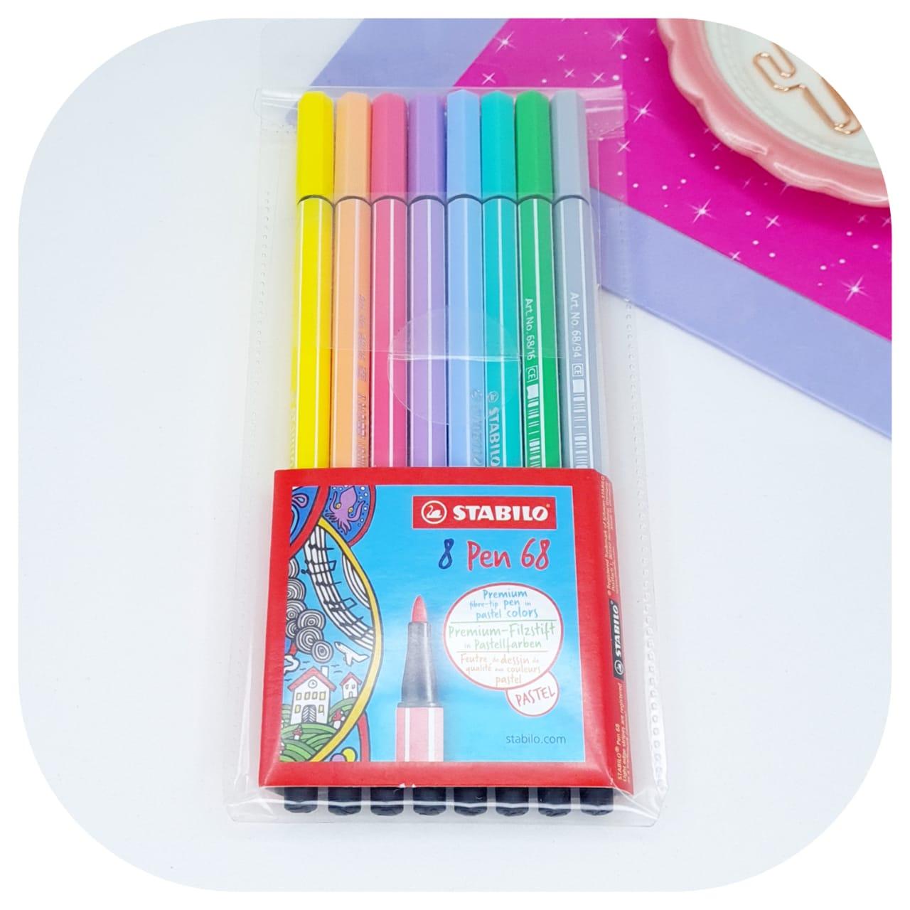 Kit Stabilo Pen 68 Pastel - 08 cores