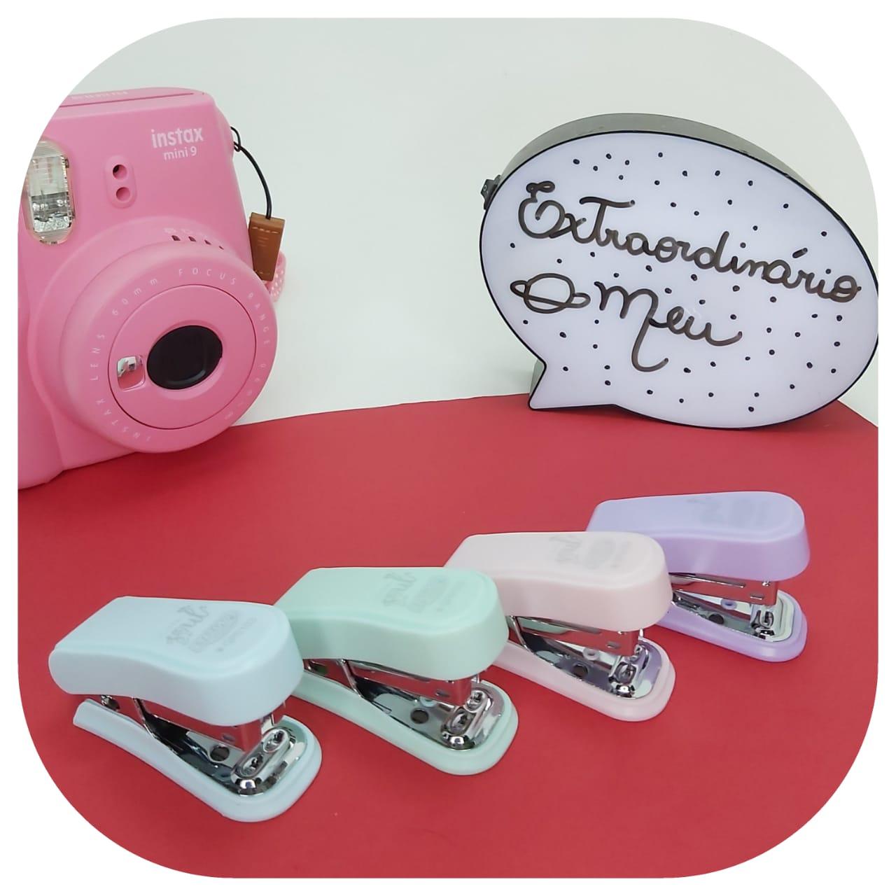 Mini Grampeador Tons Pastéis - até 20 fls - Linha Soul - BRW