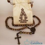 Terço de madeira Nossa Senhora Aparecida no saquinho bordado - 163692