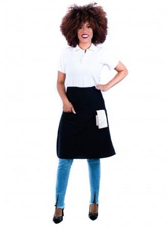 Avental de Cintura Feminino Sumaia Camille Para Profissionais da Cozinha - Preto