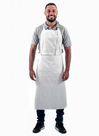 Avental de Frente Masculino Sumaia Enrico, 2 em 1 com peito removível Para Profissionais da Cozinha - Branco