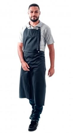 Avental de Frente Masculino Sumaia Enrico, 2 em 1 com peito removível Para Para Profissionais da Cozinha - Preto
