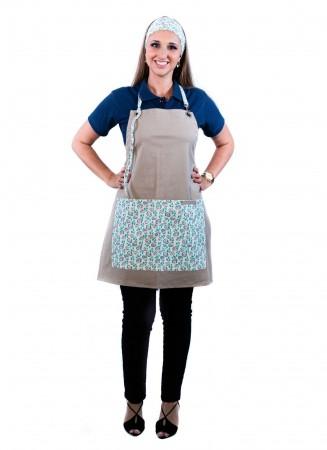 Avental de Frente Feminino Sumaia Letícia, Com Bolsos e Regulagem Para Profissionais da Cozinha- Floral Verde-Azul