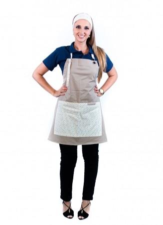 Avental de Frente Feminino Sumaia Letícia, Com Bolsos e Regulagem Para Profissionais da Cozinha - Poá Verde-Azul