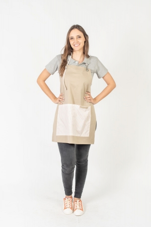 Avental de Frente Feminino Sumaia Letícia, Com Bolsos e Regulagem Para Profissionais da Cozinha - Zigue-Zague Pequeno
