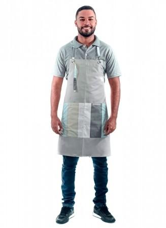 Avental de Frente Masculino Sumaia Patrick, Com Bolsos e Regulagem Para Profissionais da Cozinha - Listra Verde