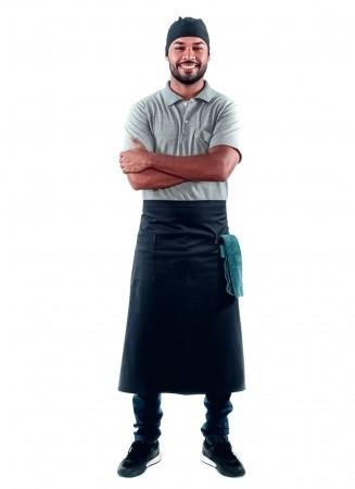 Avental de Cintura Masculino Sumaia Pietro Para Profissionais da Cozinha - Preto