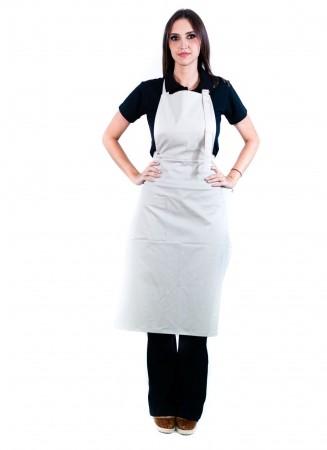 Avental de Frente Feminino Sumaia Samia, 2 em 1 com peito removível Para Profissionais da Cozinha - Areia