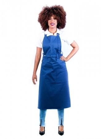 Avental de Frente Feminino Sumaia Samia, 2 em 1 com peito removível Para Profissionais da Cozinha - Azul Índigo
