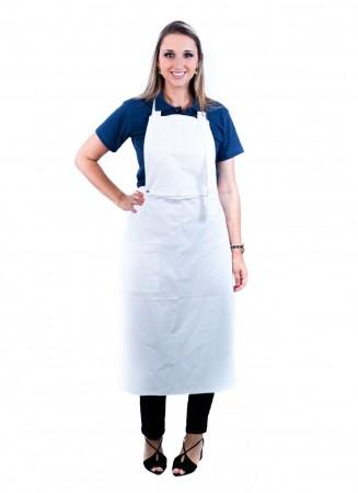 Avental de Frente Feminino Sumaia Samia, 2 em 1 com peito removível Para Profissionais da Cozinha - Branco