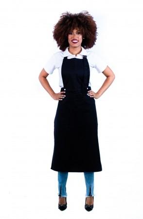 Avental de Frente Feminino Sumaia Samia, 2 em 1 com peito removível Para Profissionais da Cozinha - Preto