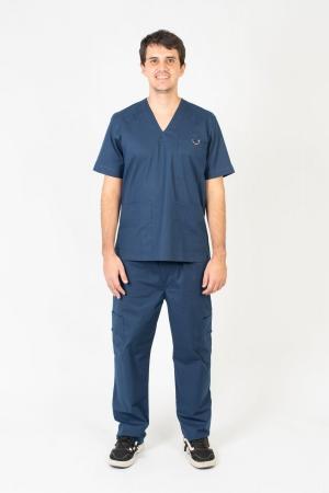 Blusa Scrub Masculina Sumaia Max Para Profissionais Da Saúde - Azul Marinho