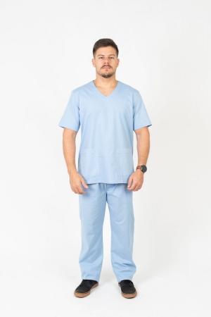 Blusa Scrub Masculina Sumaia Max Para Profissionais Da Saúde - Azul Claro