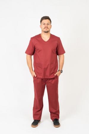Blusa Scrub Masculina Sumaia Max Para Profissionais Da Saúde - Bordô