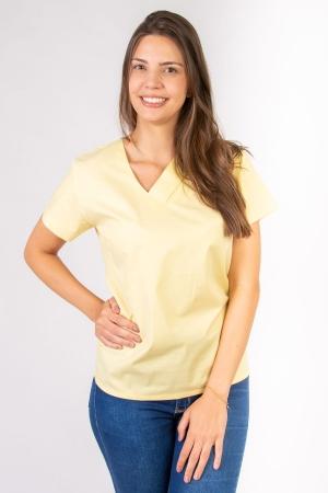 Blusa Scrub Feminina Sumaia Victória Para Profissionais Da Saúde - Amarelo