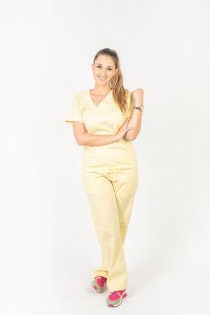 Calça Scrub Feminina Sumaia Para Profissionais Da Saúde - Amarelo