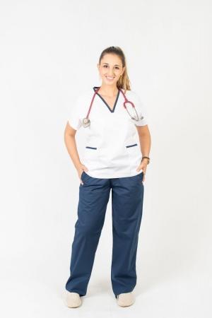 Calça Scrub Feminina Sumaia Para Profissionais Da Saúde - Azul Marinho