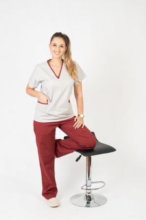 Calça Scrub Feminina Sumaia Para Profissionais Da Saúde - Bordô