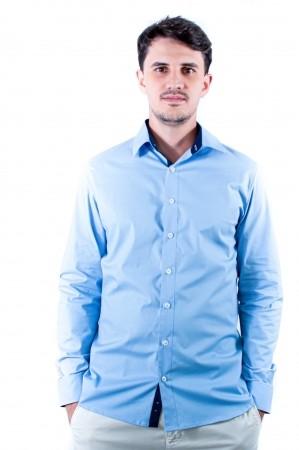 Camisa Masculina Slim Sumaia Antony, Algodão com elastano e Manga Longa - Azul Claro
