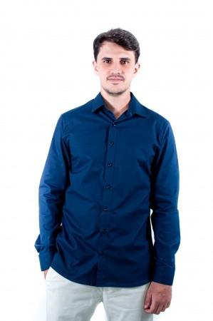 Camisa Masculina Slim Sumaia Antony, Algodão com elastano e Manga Longa - Azul Marinho
